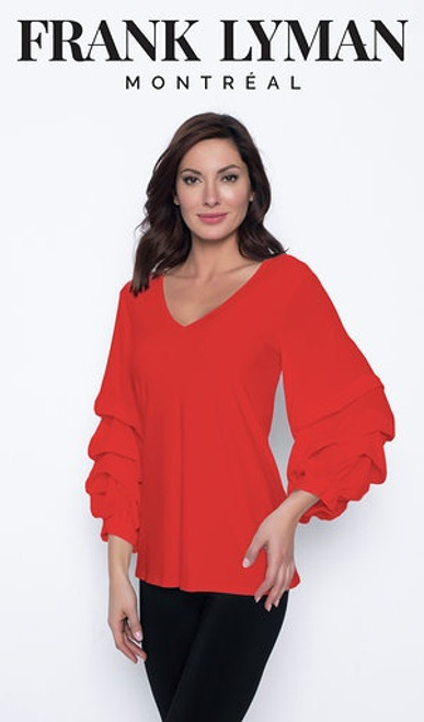 V Neck Top With Ruffled Sleeves  (203267)