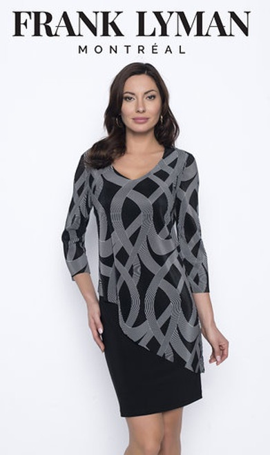 3/4 Sleeved Printed Knit Dress With Asymmetrical Overlay (203292)