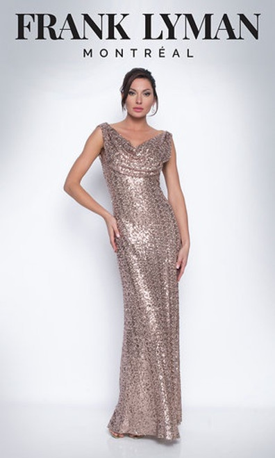 Lyman Long Sequenced Dress With Cowl Neck  (209101U)
