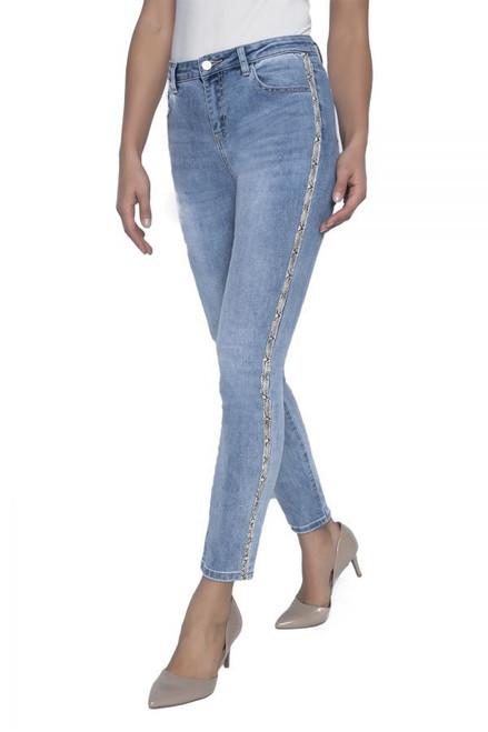 Frank Lyman Jeans With Beige Print Side Embellished Details  (196105U)