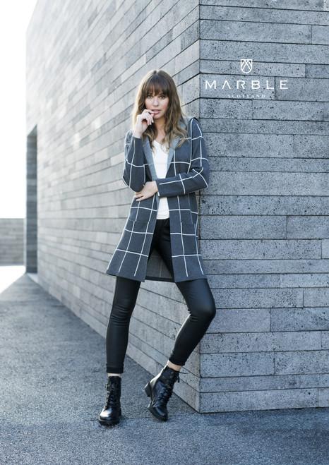 Marble Check Long Sleeves Cardigan (5919)