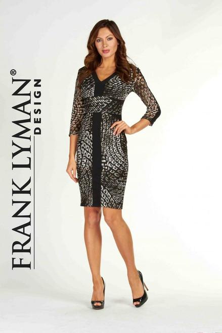 Frank Lyman Black/Brown Animal Print Dress (63338)