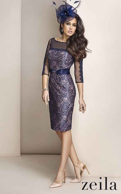 Zeila navy and pink lace dress (ZHE42300)