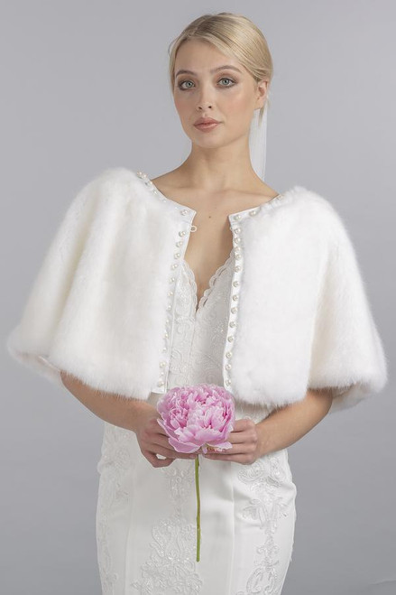 Jayley faux fur cape with pearls (FMCP23A)