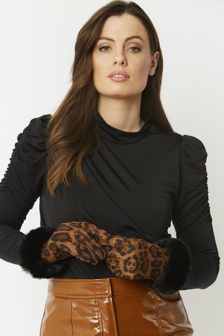 Jayley Faux Suede Faux Fur Gloves (GLVSU9A)