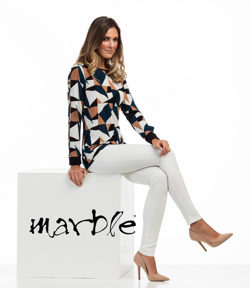 Marble Blue/Camel Tunic (4730)