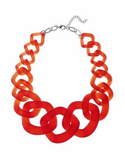 Lf-N050261Org Chunky Chain Effect Acrylic Necklace ()