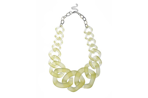 Lf-N050261Yellow Chunky Chain Effect Acrylic Necklace ()