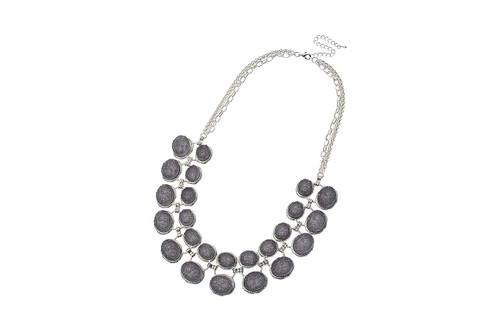Mcn27104-5 Dark Grey Moon Rock Style Necklace ()
