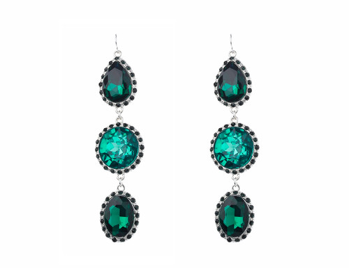 Ge1903222-1 Large 3 Tier Drop Emeral Green Earrings ()