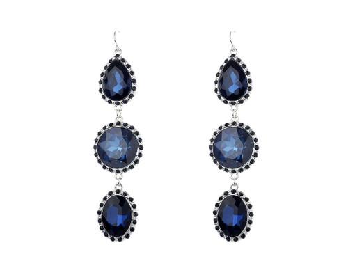 Ge1903222-2 Large 3 Tier Drop Blue Colour Montana  Earrings ()