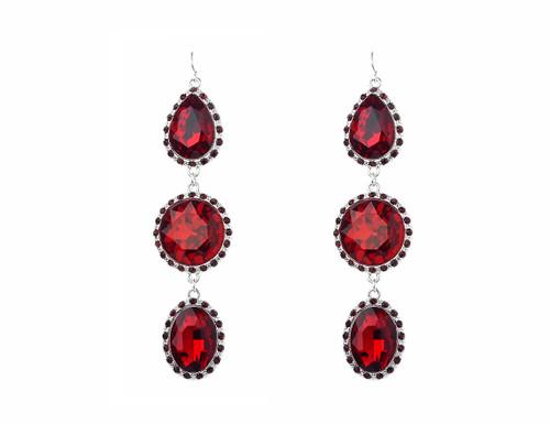 Ge1903222-3 3 Tier Drop Red Stone Earrings ()