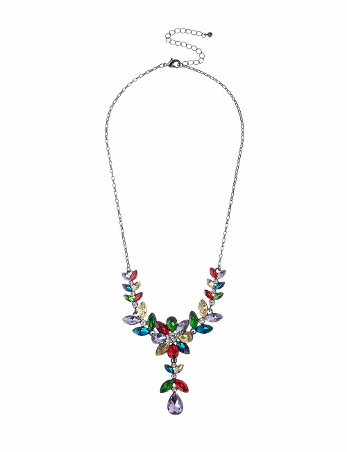 Gn190167-9 Multi Coloured Stone Flower Drop Necklace ()