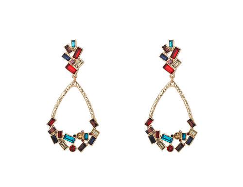 Mce-19226 Multi Crystal Drop Earrings ()