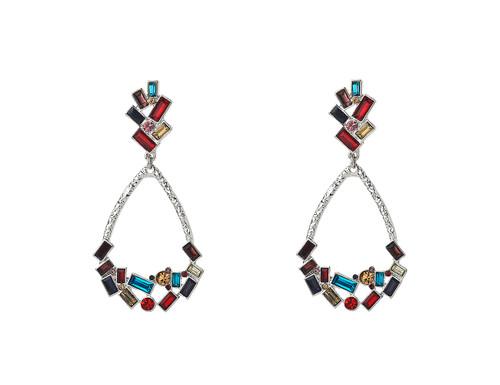 Mce19226-1 Multi Coloured Stone Teardrop Earrings ()