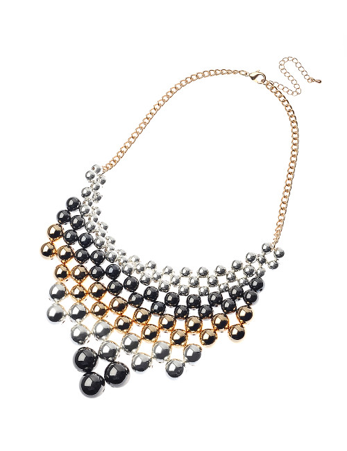 Mcn32494-6 Multi Stand Bead Necklace In V Formation ()