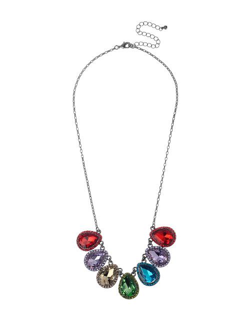 Gn190335-5 Multi Coloured Stone Teardrop Shape Necklace ()