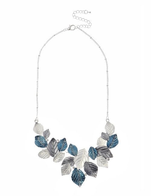 Mn1891997 3 Tone Necklace In Blue, Grey And White ()