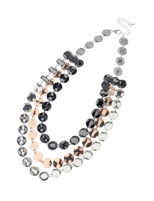 Mn1992832Srgm Hammered 3 Stand Coloured Necklace ()