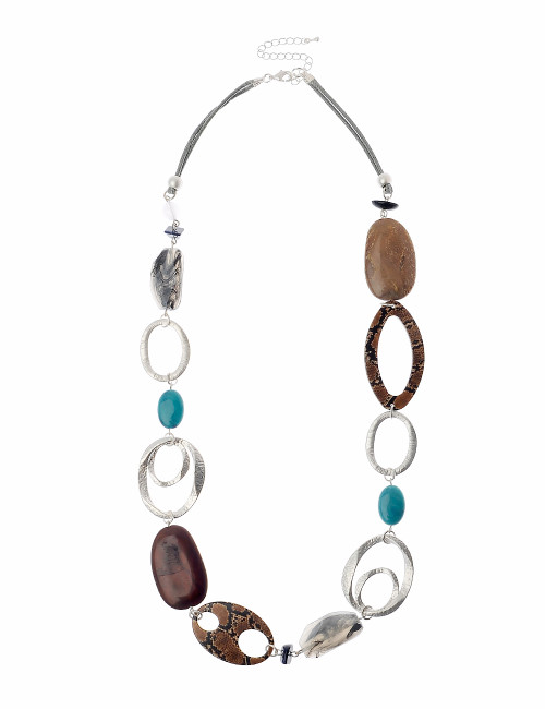 Gn190821-1 75Cm + 8Cms Silver And Multi Coloured Bead Necklace ()