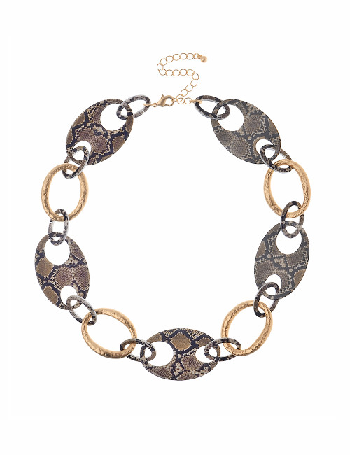 Gn190826 Gold Colour And Snake Print Oval Necklace ()