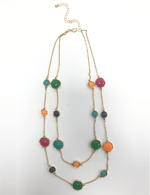 Tfn20662-B Multi Coloured Beads On Double Chain Necklace ()