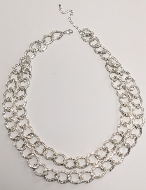 Tfn21170-1 Textured Double Chain Necklace ()
