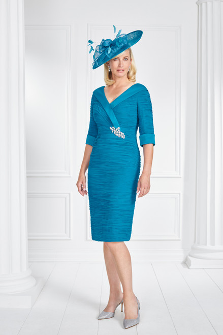 71043 Condici Ruched Dress With V Neck And Diamante Detail ()