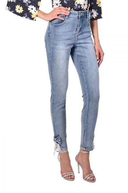 216109U Stonewash jeans with diamante bow detail