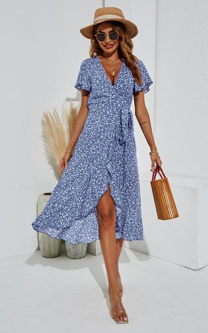 Soft Blue Floral Wrap Dress (FS21197-3)
