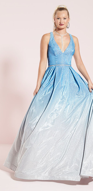 A-Line Gown In Blue And Silver Ombré  (12816)