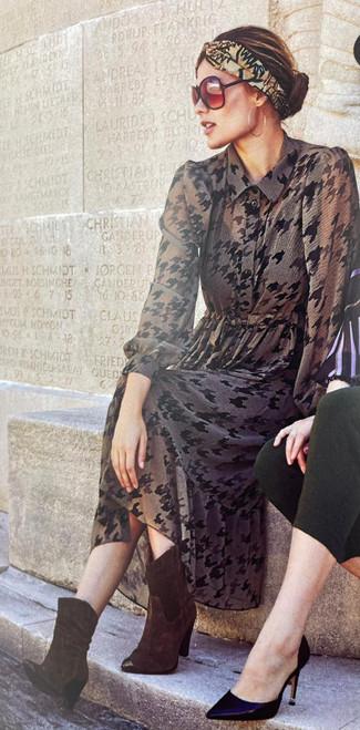 7812 71073 Molly Jo Khaki And Black Tie Front Chiffon Dress  ()