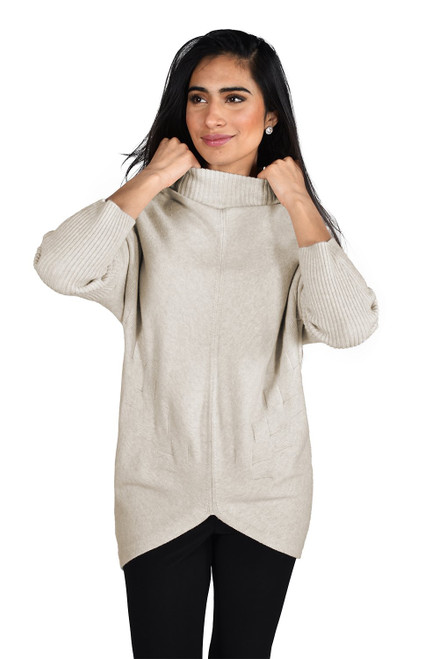 213134U Frank Lyman Oatmeal Jumper With X Detail And Scoop Front ()