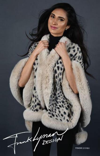 213182U Frank Lyman Leopard Print Faux Fur Wrap ()