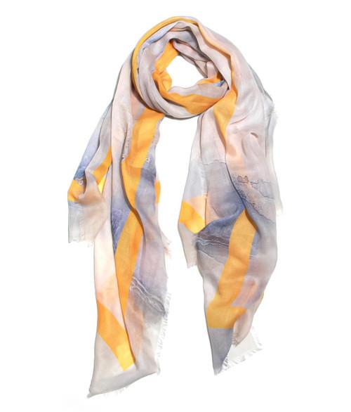 Grey, White And Yellow Stripe Scarf (1457/S/E)