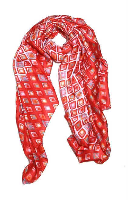 Red, Orange And Blue Square Print Silky Scarf (1469/S/E)