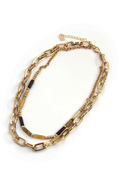 Gold 2 Layer Short Necklace (1307/GD/N/G)