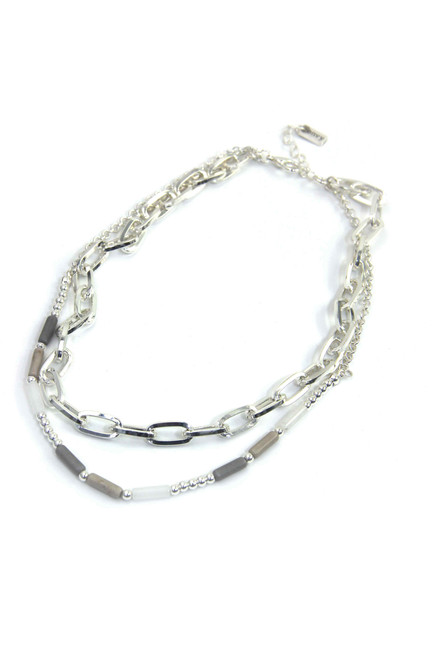 Silver 2 Layer Short Necklace. (1307/SL/N/G)
