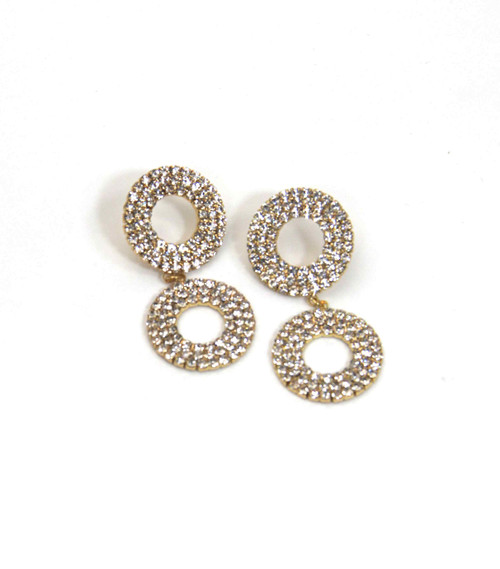 Gold Double Circle Drop Earrings With Jewels (1361/E/D)