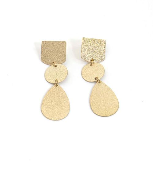 Gold Battered Long Pendant Earring (1359/E/C)