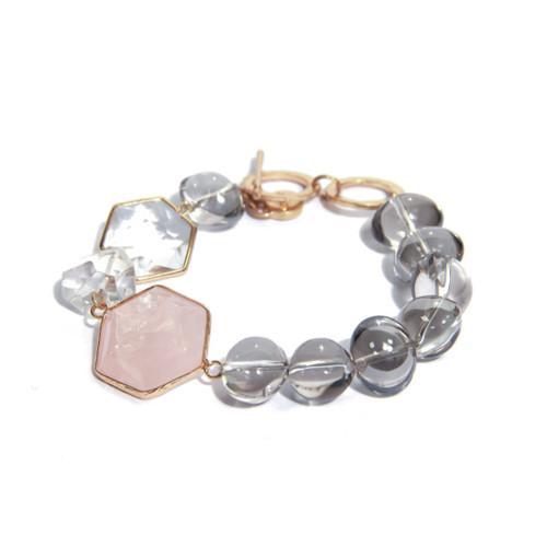 Grey Beaded Bracelet With Pale Pink Stone. (1378/PK/B/F)