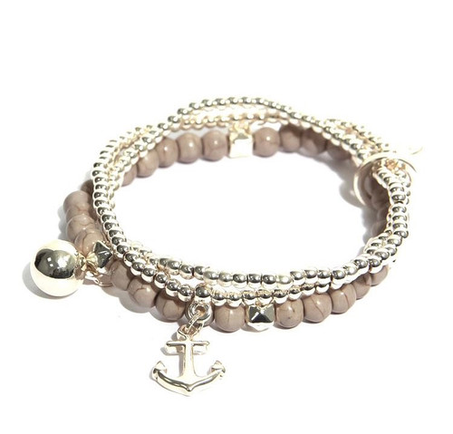Multistrand Beaded Bracelet In Gold With Taupe Beads  (1314/BE/B/E)