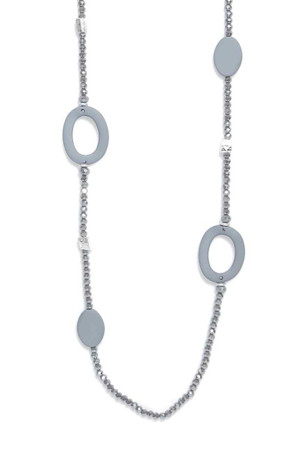 Crystal Bead Necklace With Grey Oval Pendants (1433/GR/N/G)