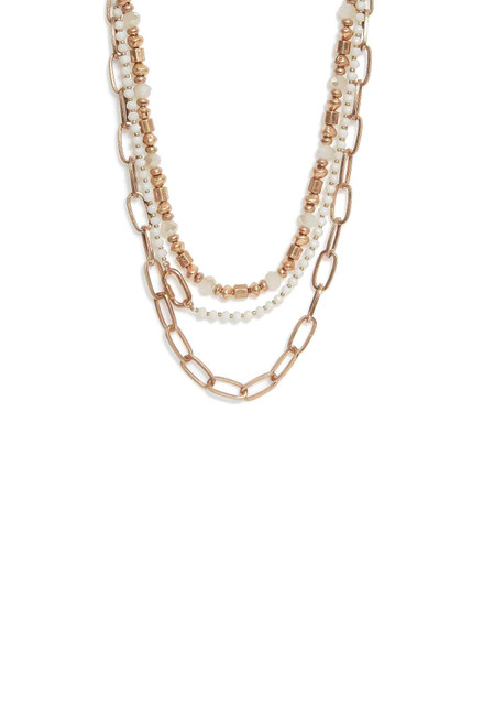 Gold Link Chain Double Necklace (1400/N/H)