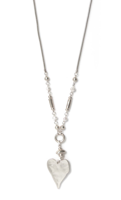 Silver Long Necklace With Heart Pendant (1203/SL/N/G)