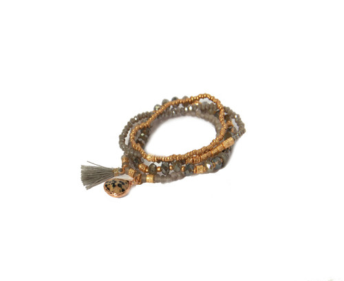 Layered Bracelet In Gold And Taupe  (997/GR/B/E)