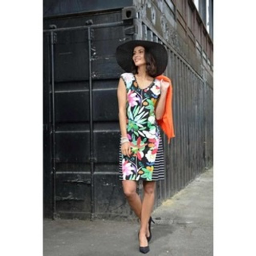 Olivier Philips dress with bright flower and stripes (0014235)