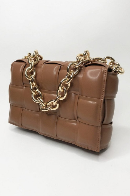 Jayley Chocolate Leather Cross Woven Clutch Bag with Gold Chain. Featuring full leather lining and small internal zip pocket.