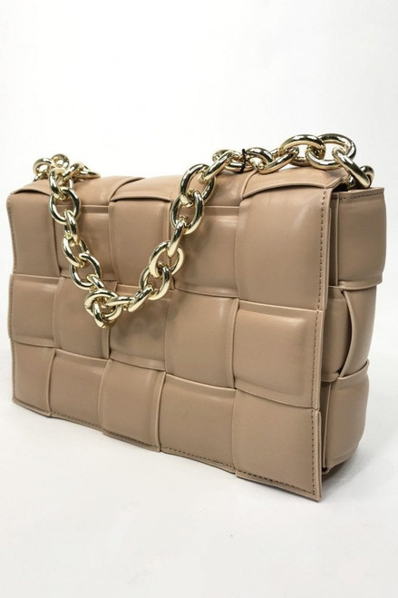 Jayley Leather Beige Cross Woven Clutch Bag with Gold Chain. Featuring full leather lining and small internal zip pocket.