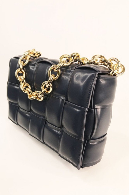 Jayley Navy Leather Cross Woven Clutch Bag with Gold Chain. Featuring full leather lining and small internal zip pocket.